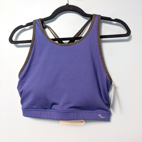 a591ef0f8ecc9 Saucony blue high neck sports bra